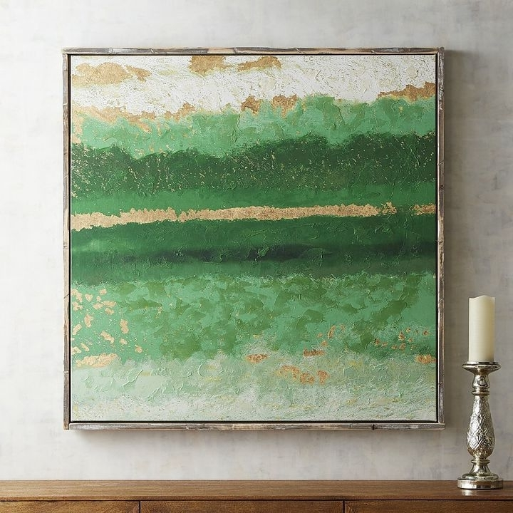 Pier 1 Imports Emerald Abstract Framed Art (View 8 of 15)