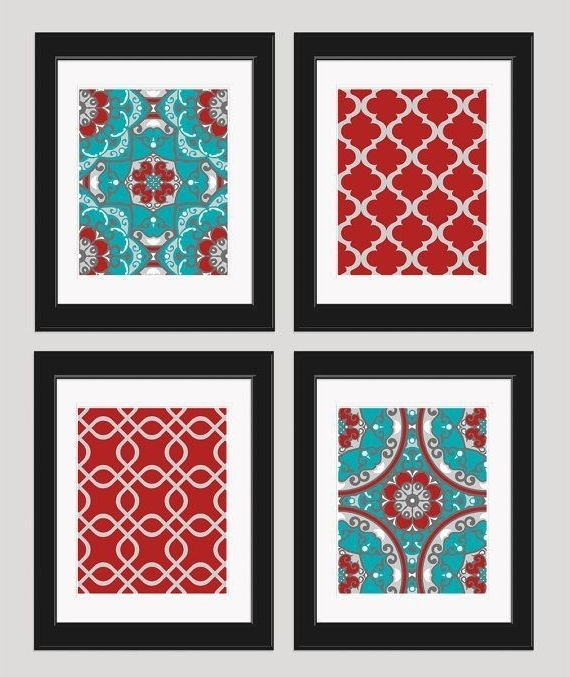 Featured Photo of Red And Turquoise Wall Art