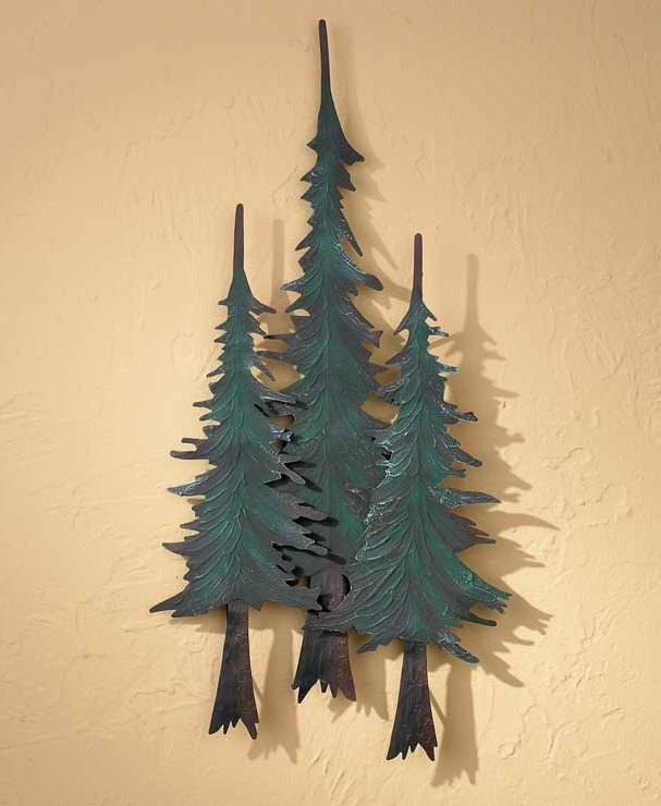 Pine Tree Metal Wall Art Throughout Preferred Metal Pine Tree Trio Wall Decor Wild Wings, Pine Tree Metal Wall Art (View 5 of 15)
