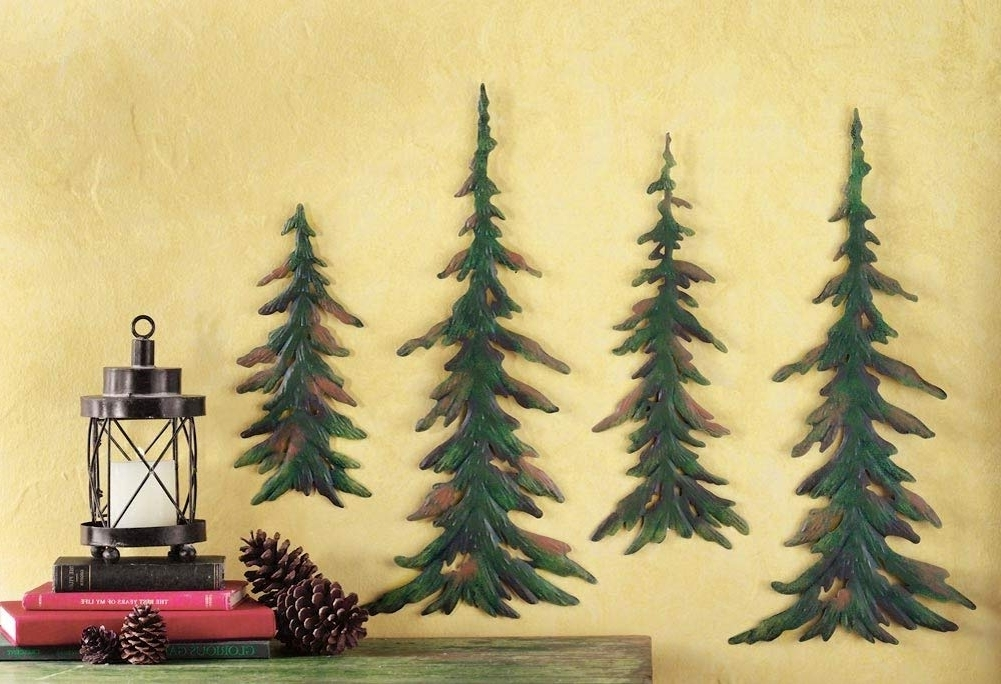 Pine Tree Metal Wall Art Within Preferred Amazon: Collections Etc Evergreen Pine Tree Metal Wall Decor Set (View 9 of 15)