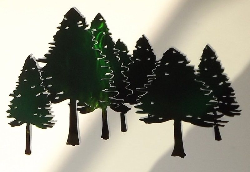 Pine Tree Wall Art Regarding Most Recently Released Hand Crafted Pine Tree Forest Free Form Metal Wall Art Sculpture (View 8 of 15)