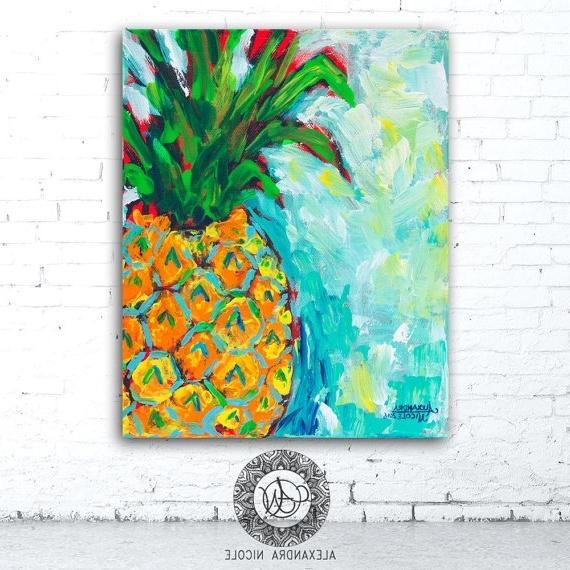Pineapple Decor Hawaiian Decor Pineapple Wall Art Hawaiian, Hawaiian Regarding Most Up To Date Hawaiian Wall Art Decor (View 13 of 15)