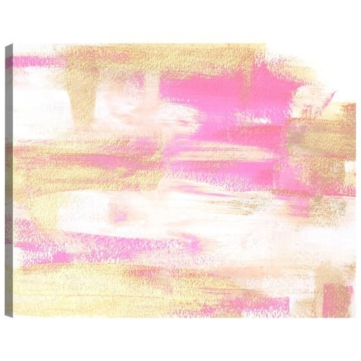 Pink Abstract Canvas Art Gal Wild Young Love Painting Print Canvas Pertaining To Widely Used Pink Abstract Wall Art (View 11 of 15)