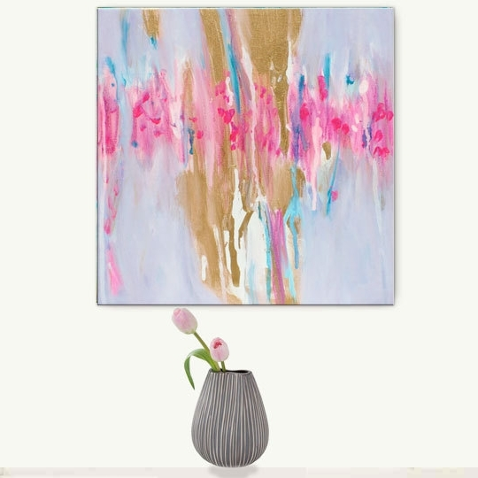 Pink Abstract Wall Art With Well Known Abstract Painting Gold Pink, Abstract Painting Canvas Print, Gold (View 5 of 15)