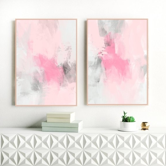 Pink And Grey Wall Art For Current Abstract Art Set Of 2 Dusty Pink And Grey Paintings (View 8 of 15)
