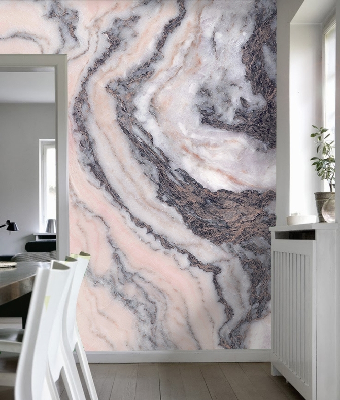 Pink And Grey Wall Art Intended For Popular Pink Grey Marble – Your Decal Shop (View 9 of 15)