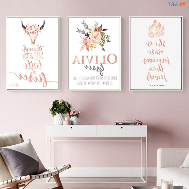 Pink And Grey Wall Art Pertaining To Most Recent Pink And Gray Canvas Painting Quotes Painting Floral Wall Art Canvas (View 11 of 15)