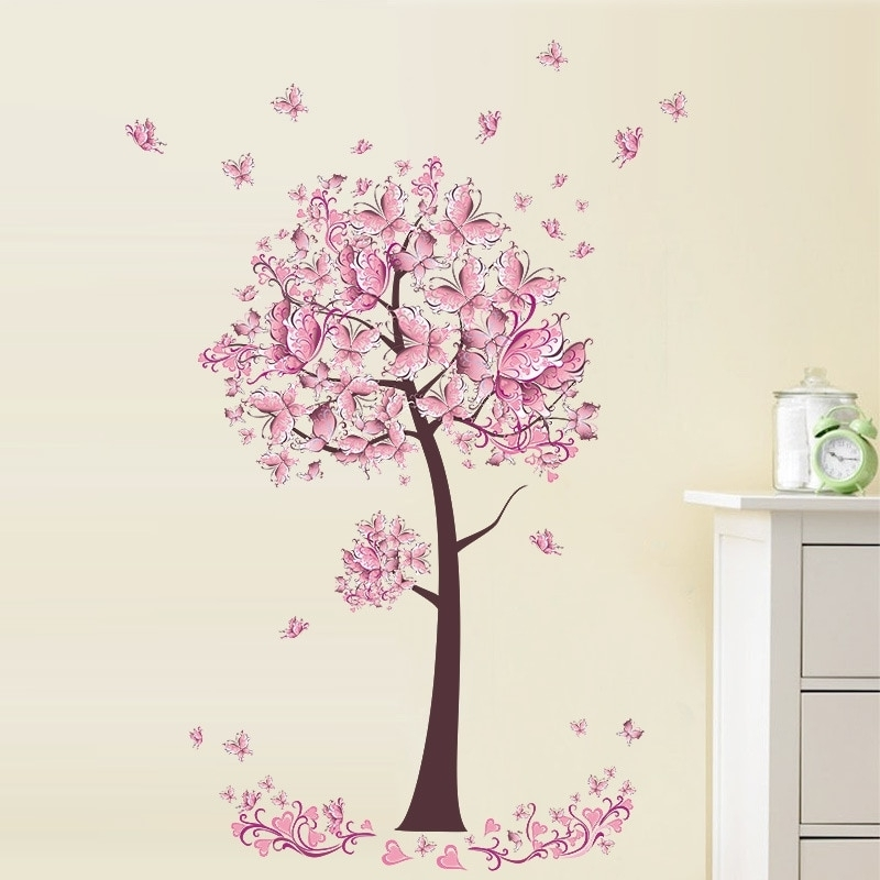 Pink Butterfly Tree Wall Sticker For Baby Girl Room Living Room For 2017 Pink Butterfly Wall Art (View 11 of 15)