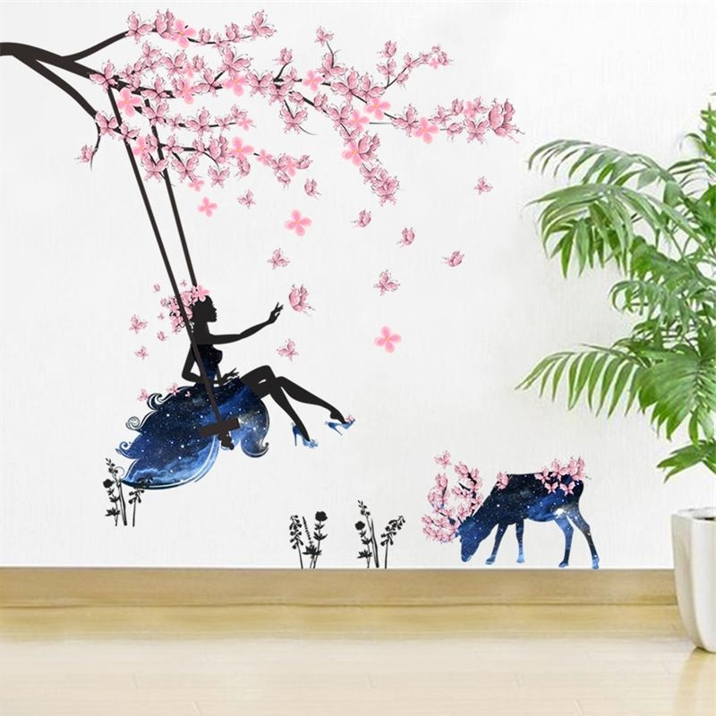 Pink Butterfly Wall Art Intended For Recent Pink Butterfly Wall Stickers Swing Girl Decals Tree Flowers Deer (View 12 of 15)