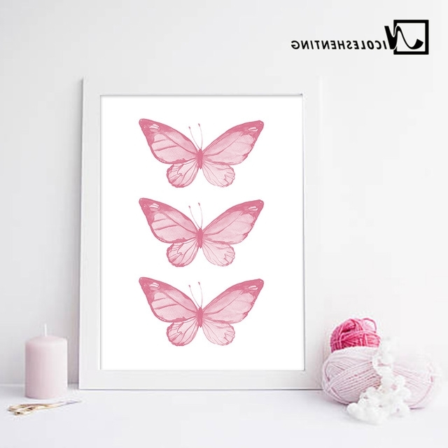 Pink Butterfly Wall Art Pertaining To Most Up To Date Pink Butterfly Wall Art Posters Nursery Prints Nordic Style Painting (View 13 of 15)