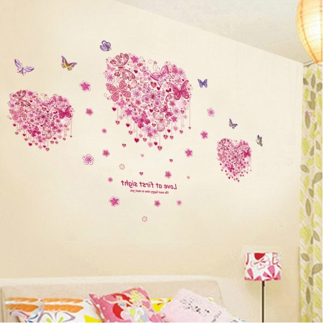Pink Butterfly Wall Art Regarding Most Recent Pink Butterfly Love At First Sight Quote Wall Stickers Bedroom (View 5 of 15)