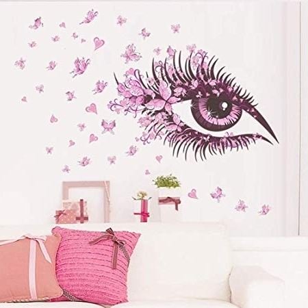 Pink Butterfly Wall Art Within Well Known Fairy Pink Butterfly Wall Art Door Stairs Living Room Bedroom Decor (View 12 of 15)