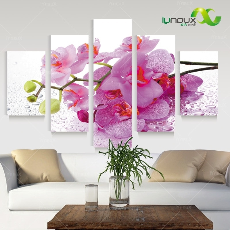 Pink Flower Wall Art For 2017 5 Piece Canvas Art Pink Flowers Wall Art Picture Modern Home (View 8 of 15)