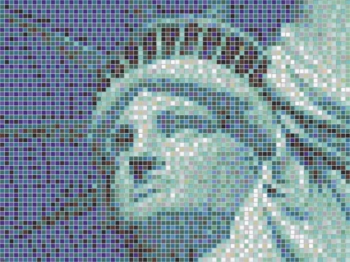 Pixel Mosaic Wall Art For Preferred Statue Of Liberty New York Mosaic Pixel Art Wall Print Poster Uk (View 7 of 15)