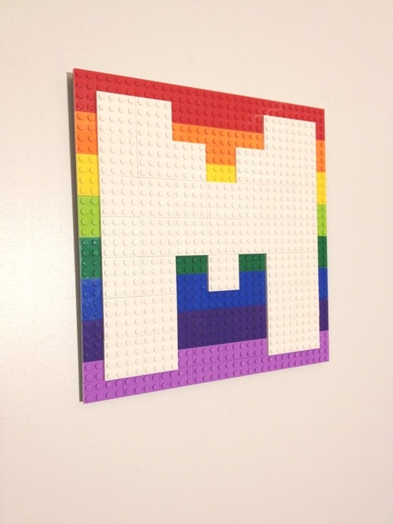 Pixel Mosaic Wall Art Within Trendy Pixel Letter Lego® Wall Art W/ Background Arcade Font Hanging (View 9 of 15)