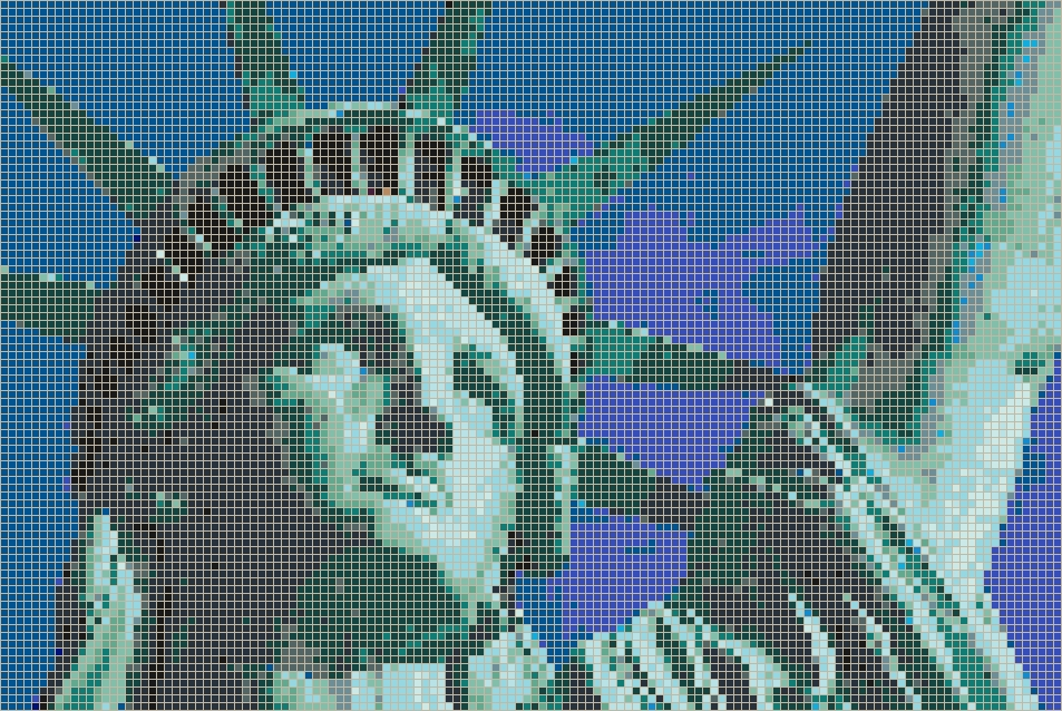 Pixel Mosaic Wall Art Within Trendy Statue Of Liberty (Face) – Framed Mosaic Wall Art (View 3 of 15)
