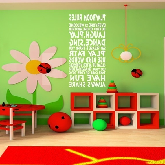 Playroom Rules Wall Decor Wall Art Sign For Children Kids Girl Boy Regarding 2017 Playroom Wall Art (View 13 of 15)