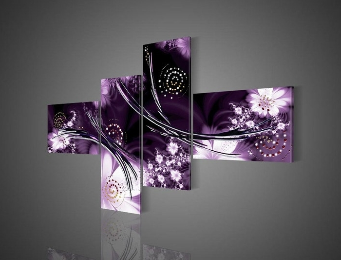 Plum And Grey Wall Art Purple Artwork Canvas Abstract Light Superb For Fashionable Purple Canvas Wall Art (View 7 of 15)