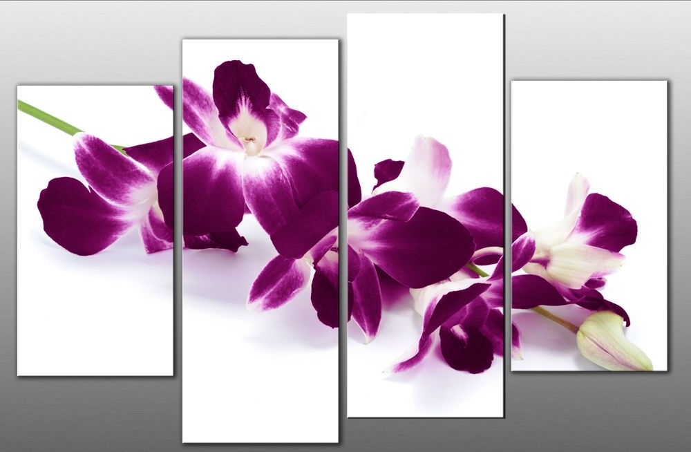 Plum Coloured Wall Art In Newest Large Plum Purple Orchids On White Canvas Picture Wall Art Multi (View 7 of 15)