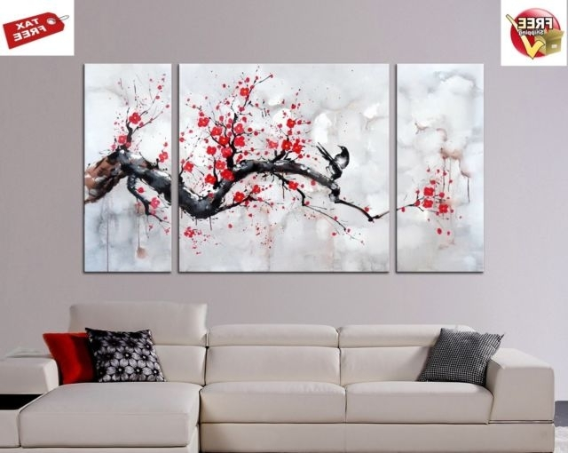Plum Wall Art Pertaining To Latest Japanese Syle Wall Art Red Plum Blossom Gallery Wrapped Canvas  (View 9 of 15)
