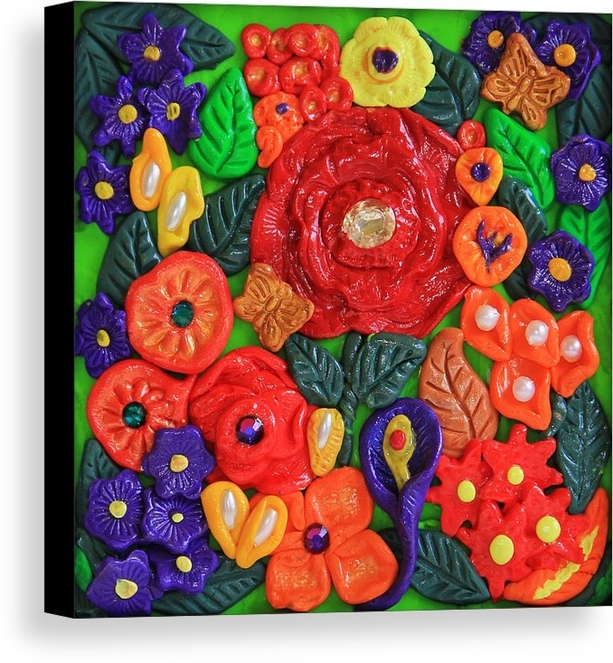 Polymer Clay Wall Art Pertaining To Well Known Polymer Clay Flowers Wall Art Canvas Print / Canvas Artdonna (View 11 of 15)