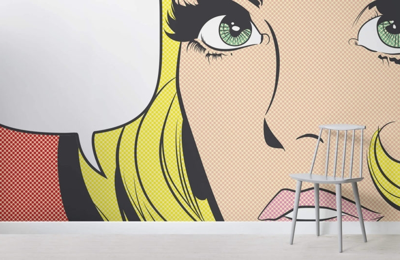 Pop Art Girl Wallpaper Mural (View 3 of 15)
