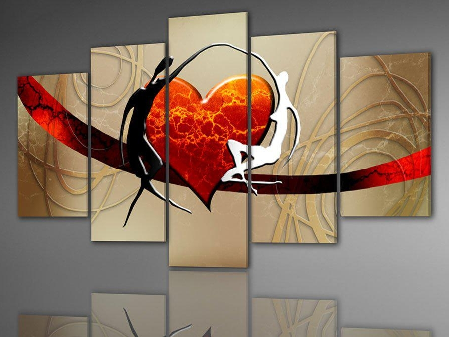Popular 2018 Wholesale Hand Painted Wall Art Lovers Dance Color Bridge Home Within Cheap Wall Art Sets (View 7 of 15)