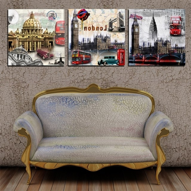 Popular 3 Piece Canvas Art New Europe Vintage Style Building Decorations For Intended For Vintage Style Wall Art (View 9 of 15)