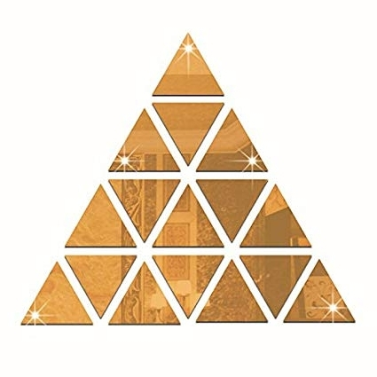 Popular 3D Triangle Wall Art For Amazon: Gold 16Pcs Triangles Pyramid Wall Art 3D Acrylic Mirror (View 12 of 15)