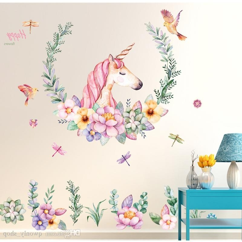 Popular 3D Unicorn Wall Art For Clever Design Ideas Unicorn Wall Art Home Girls Nursery Or Bedroom (View 11 of 15)