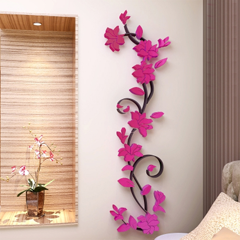 Popular 3D Vase Tree Love Heart Crystal Arcylic Wall Stickers Decal Home Within Heart 3D Wall Art (View 5 of 15)