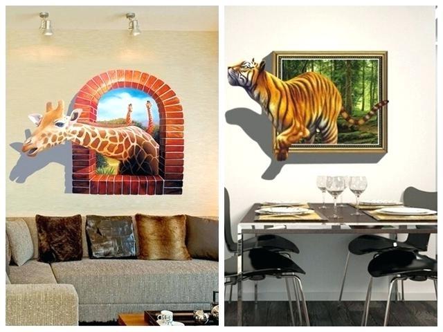 Popular 3D Wall Art Stickers Kids Bedroom Sticker Wallpaper Living Room Throughout Decorative 3D Wall Art Stickers (View 13 of 15)