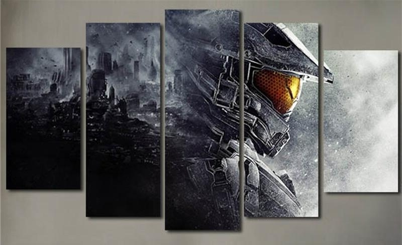 Popular 5 Piece Wall Painting Canvas Prints Posters Halo 5 Guardians Video With Video Game Wall Art (View 6 of 15)