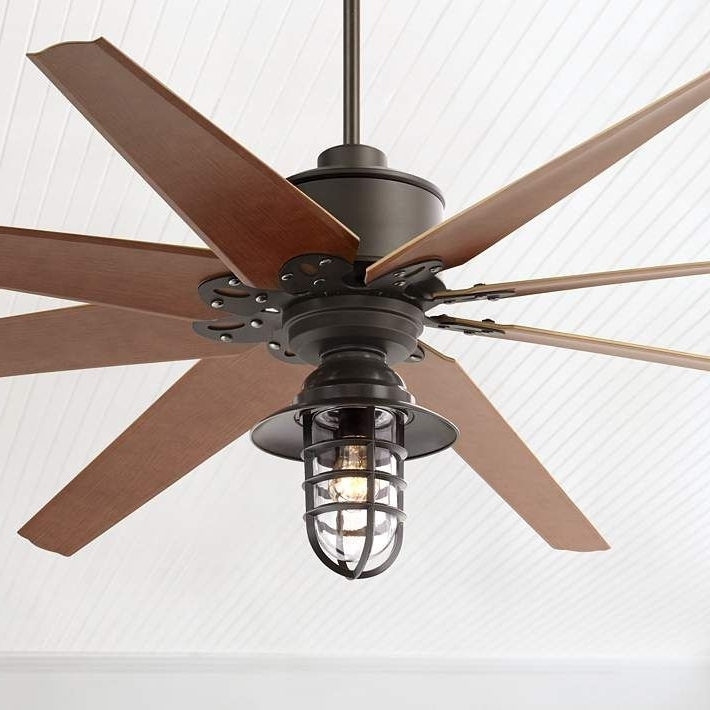 "Popular 72"" Predator Bronze Marlowe Cage Outdoor Ceiling Fan (View 9 of 15)"
