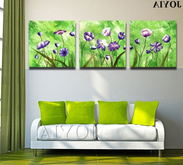 Popular Abstract Floral Wall Art Throughout 3 Piece Triple Paintings Set Abstract Floral Wall Art Printed Canvas (View 2 of 15)