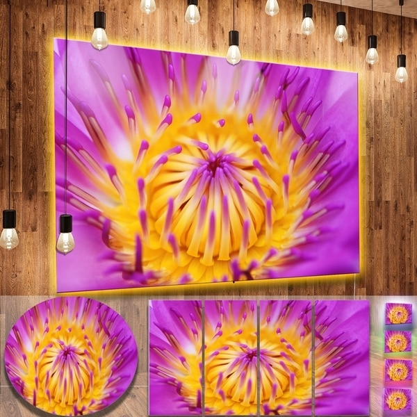 Popular Abstract Flower Metal Wall Art Within Designart 'pink Yellow Abstract Lotus Flower' Flowers Metal Wall Art (View 15 of 15)
