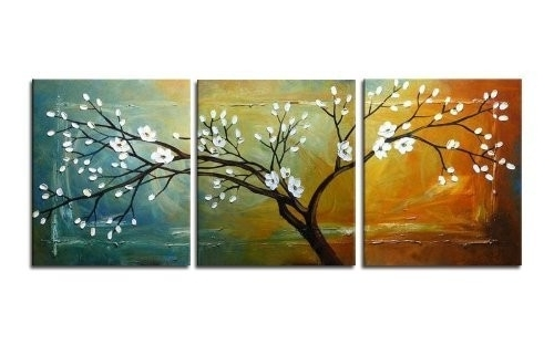 Popular Abstract Nature Canvas Wall Art In Wieco Art 3 Panels Canvas Print, Stretched And Framed, Black And (View 8 of 15)