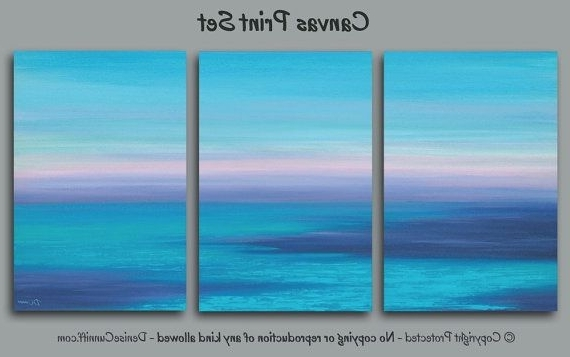 Popular Abstract Ocean Sunset Painting, Navy Blue Lavender Turquoise, 3 Intended For Abstract Ocean Wall Art (View 13 of 15)