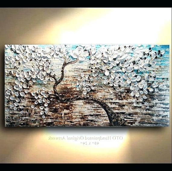 Popular Abstract Tree Wall Art White Gold Brown Blue Flower Abstract Tree Intended For Brown Abstract Wall Art (View 7 of 15)