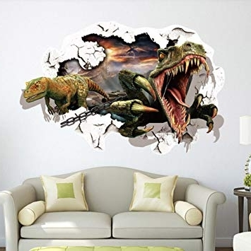 Popular Amazon: 3D Dinosaur Wall Art Stickers Removable Wall Decor Throughout 3D Dinosaur Wall Art Decor (View 13 of 15)