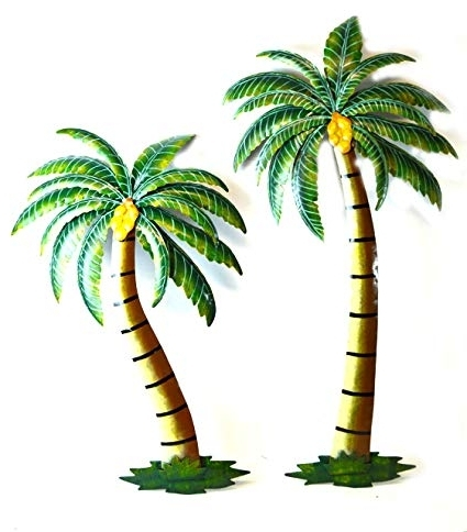 """Popular Amazon: Beautiful 37"""" Metal Set Of 2 Palm Tree With Coconuts In Palm Tree Metal Art (View 13 of 15)"""