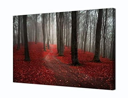 Popular Black And White Wall Art With Red For Amazon: Modern Large Tree Painting, Black White Red Forest (View 3 of 15)