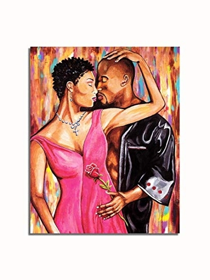 Popular Black Love Wall Art Regarding Amazon: African American Black Couple A Rose With Love Wall (View 9 of 15)
