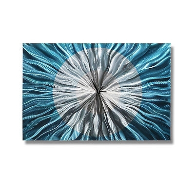Popular Blue And Silver Wall Art Intended For Modern Aqua & Silver Wall Clock – Contemporary Metal Wall Art Decor (View 4 of 15)
