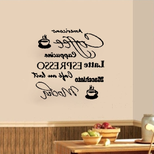 Popular Cafe Latte Kitchen Wall Art For Coffee Cafe Cappucino Latte Mocha Wall Decals Vinyl Stickers Home (View 10 of 15)