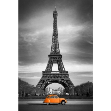 Popular Canvas Print – Paris Wall Art – Orange Citroën 2Cv In Front Of For Black And White Paris Wall Art (View 7 of 15)