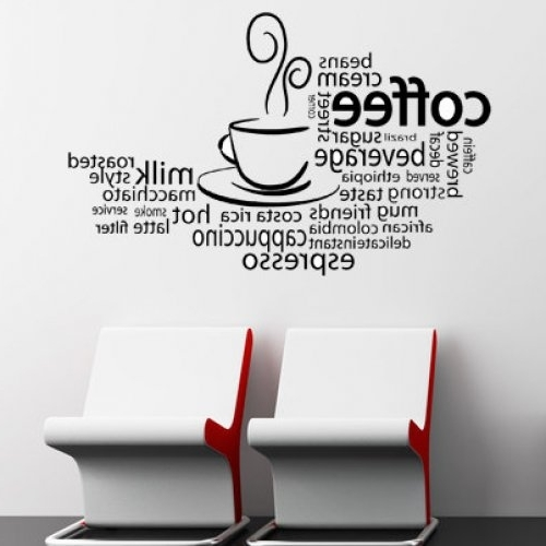 Popular Coffee Mug Wall Decals Time Cup Kitchen Cafe Decor Vintage Coffee Inside Cafe Latte Kitchen Wall Art (View 13 of 15)