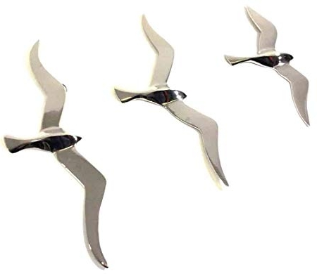 Popular Contemporary Metal Wall Art – Set Of 3 Large Flying Seagull Birds Throughout Birds In Flight Metal Wall Art (View 14 of 15)