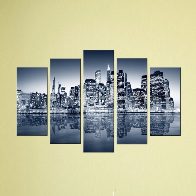 Popular Custom Canvas Art With Words Inside Unstretched Home Decor Canvas Modern City Digital Painting (View 2 of 15)