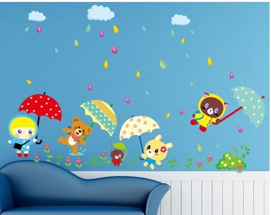 Popular Cute Animal Designer Home Decoration Wall Art Stickers For Children With Children Wall Art (View 6 of 15)